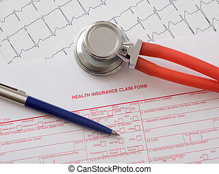 Health insurance claim form with stethoscope - Health...