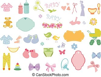 New born baby elements - Baby boy and baby girl icons vector...