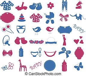Baby shower elements vector set.