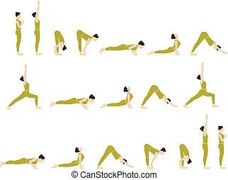 Yoga exercises set.