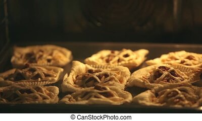 Puff Pastry Pies In oven baking tray - Pies flaky pastry,...
