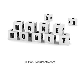 """Business cubes - White cubes with the words """"make money""""..."""