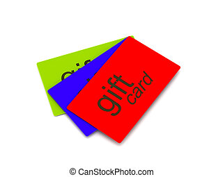 Gift cards red, green and blue isolated on white background...