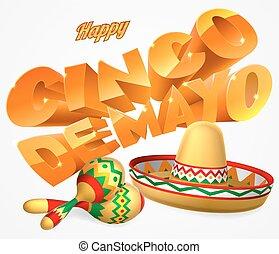 Cinco De Mayo Sign - A happy Cinco De Mayo label sign decal...