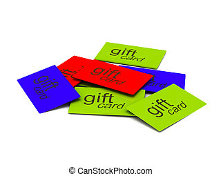 Pile of gift cards isolated on white background High quality...