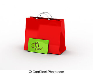 Shopping. Gift card and shopping bag isolated on white...