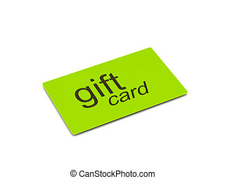 Gift card - Green gift card isolated on white background...