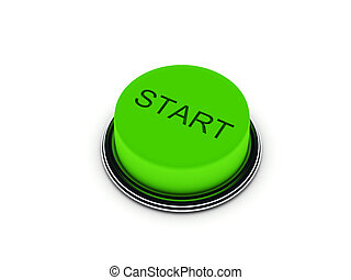 Start button isolated on white background. High quality 3d...