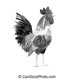 Rooster symbol 2017. Watercolor print . - Rooster symbol...