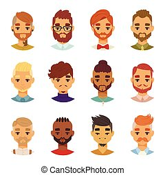 Various expressions bearded man face avatar fashion hipster...