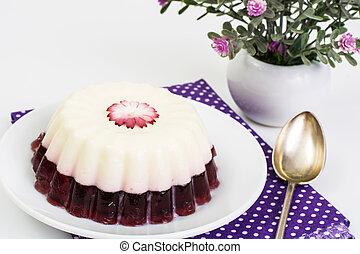 Delicious low-calorie dessert-Cherry Milk Jelly. Studio...