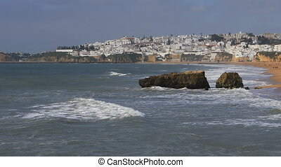 View of the beach at Albuferie in Portugal
