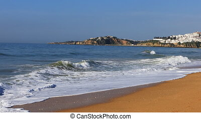 View of the waves at Albuferie, Portugal