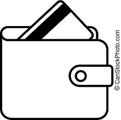 Wallet and credit card icon black contour of vector illustration