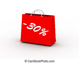 30% off. Red package isolated on white background. High...