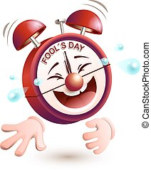 Fools day time. Clock is laughing to tears. Isolated on...