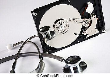 Computer hard drive and a stethoscope. The symbol of health...