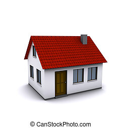 A small house with red roof on a white background Created in...