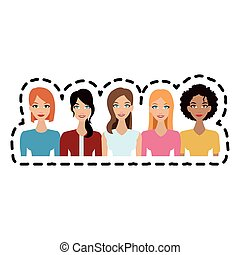 group of beautiful women icon image vector illustration...
