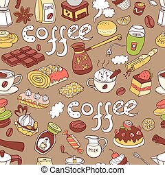 Vector seamless pattern with  doodle coffee. Equipment and desse