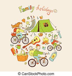 Round vector illustration with friendly family and camping equip