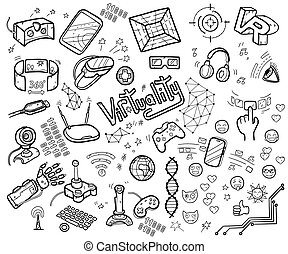 Doodle vector collection of virtual reality and innovative...