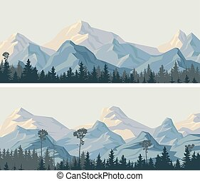 Horizontal wide banners of snowy mountains. - Set of...