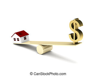 Real estate finance. House model and dollar sign on seesaw...