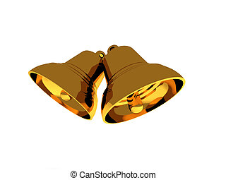 Two bells - Two golden bells on white background High...