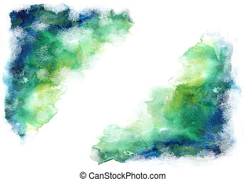 Green and blue grung style watercolor hand painting white...