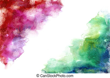 rainbow grung style watercolor hand painting white background