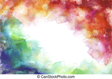 rainbow grung style watercolor hand painting white...
