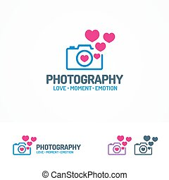 Photography logo set with photocamera and hearts color...