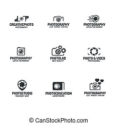 Photography logo set black color style for use photostudio,...