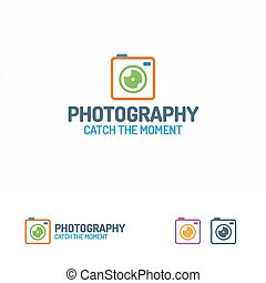Photography logo set with color photocamera - Photography...