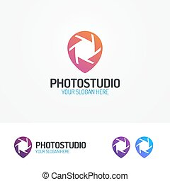 Photostudio logo set with aperture and pin color modern...