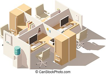 Vector isometric low poly office cubicle. Includes...