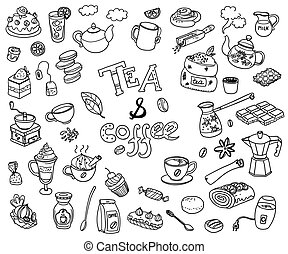 Big vector collection of doodle tae and coffee. Equipment and de