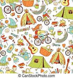 Vector seamless pattern with cute doodle family. Equipment...