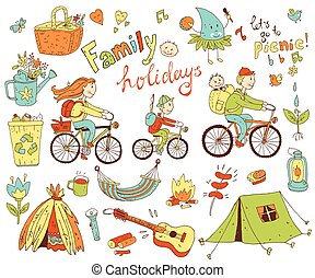 Vector set of cute doodle family and holidays. Equipment for...