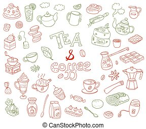 Big vector collection of doodle tae and coffee. Equipment de...