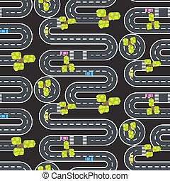 Top view winding roads and streets seamless vector pattern.
