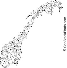 Map of Norway from polygonal black lines and dots of vector illustration