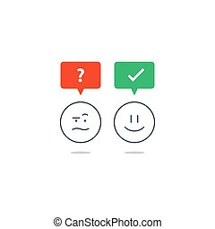 Opposite emotions, smile emoji, sad icon, customer services,...