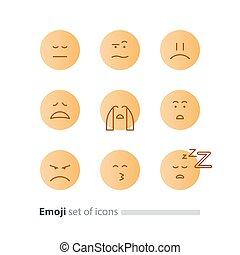 Emoji icons, emoticon symbols, face expression signs,...