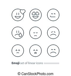 Emoji icons, emoticon symbols, face expression signs,...