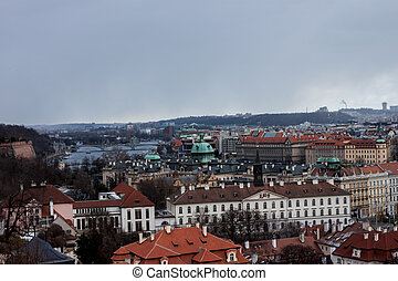 panoramic view at Prague red roofs