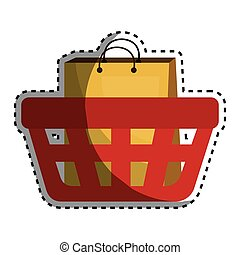 basket shopping with paper bags commercial icon vector...
