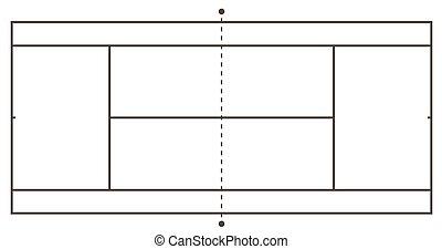 Tennis court illustration. Top view, Vector illustration