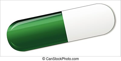Green And White Capsule - A green and white medicine capsule...